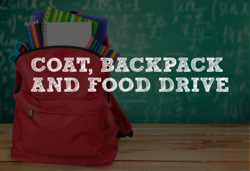 coat, backpack and food drive