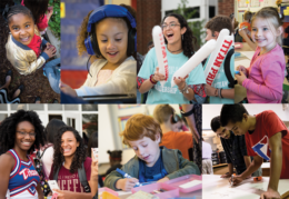 collage of images containing students in a school environment