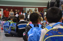 Students on the first day at Cora Kelly.