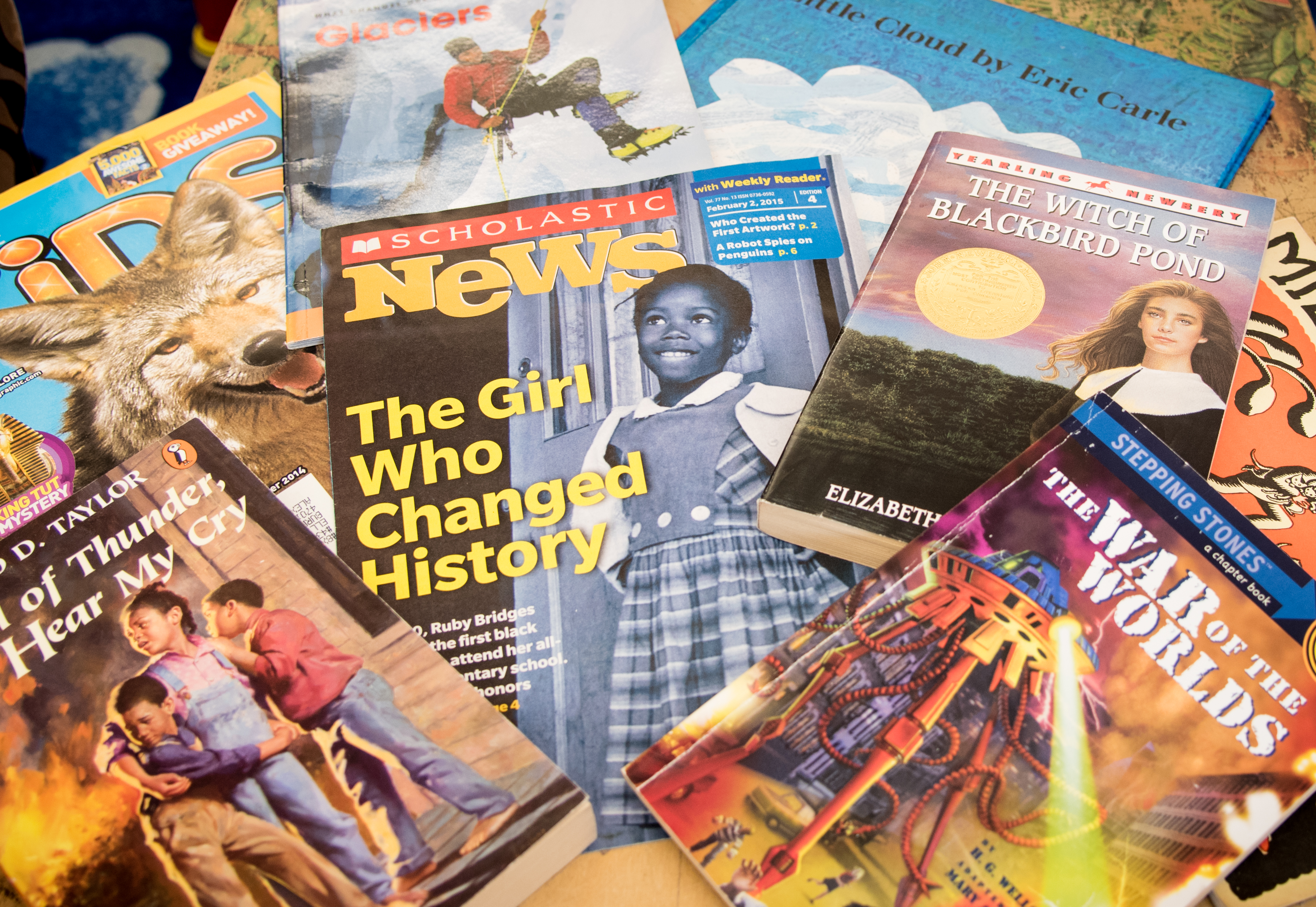 Spread of books and magazines