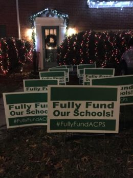 PTAC's 'Fully Fund Our Schools' yard sign campaign (picture by Joy Cameron)