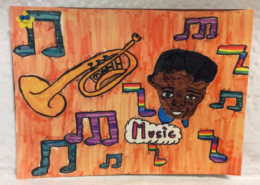 Black History Month student artwork featuring artist and music