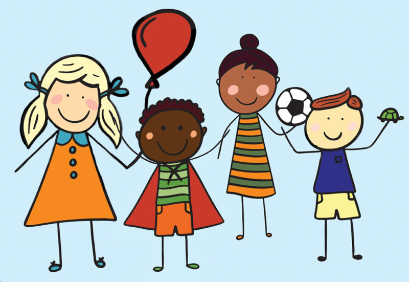 4 stick figures kids with balloon, soccer ball, turtle