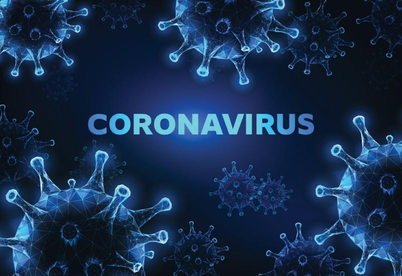 image of virus, black-blue background