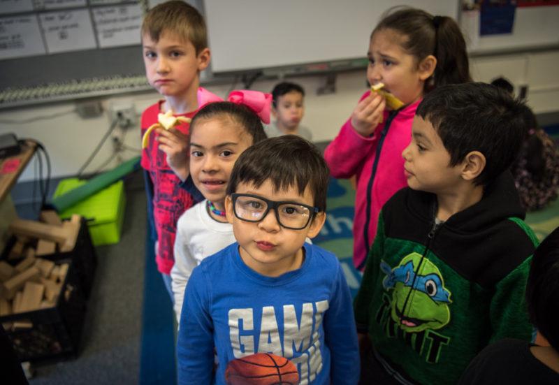 Deborah haiman's kindergarten tastes bananas in class