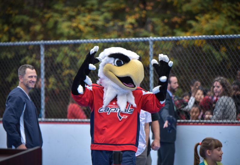 Slapshot at hockey rink opening