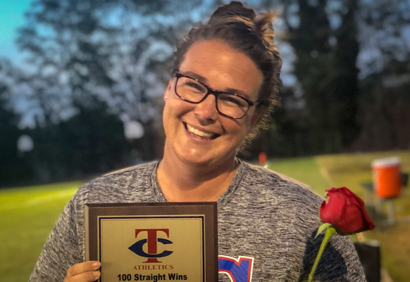 Elizabeth Blount field hockey coach brings home 100th straight win