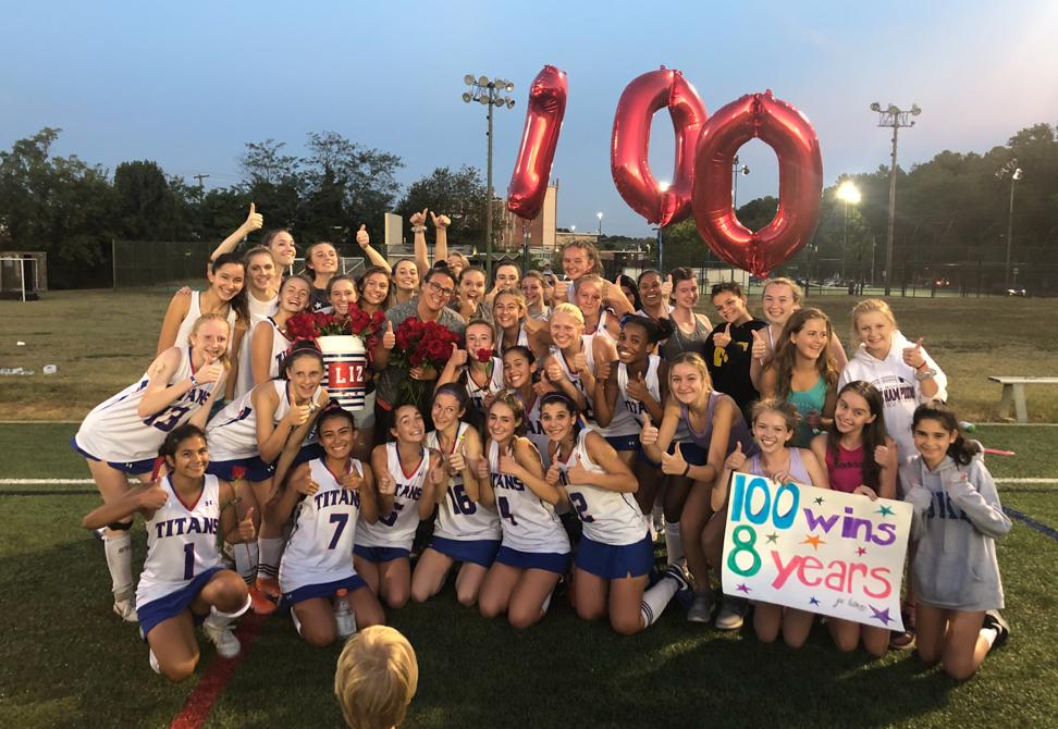 TC field hockey team celebrates coach's 100th win