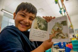 Happy elementary school boy holding book