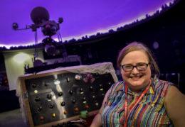TC Williams planetarium projector with Dr. Melissa Hamilton