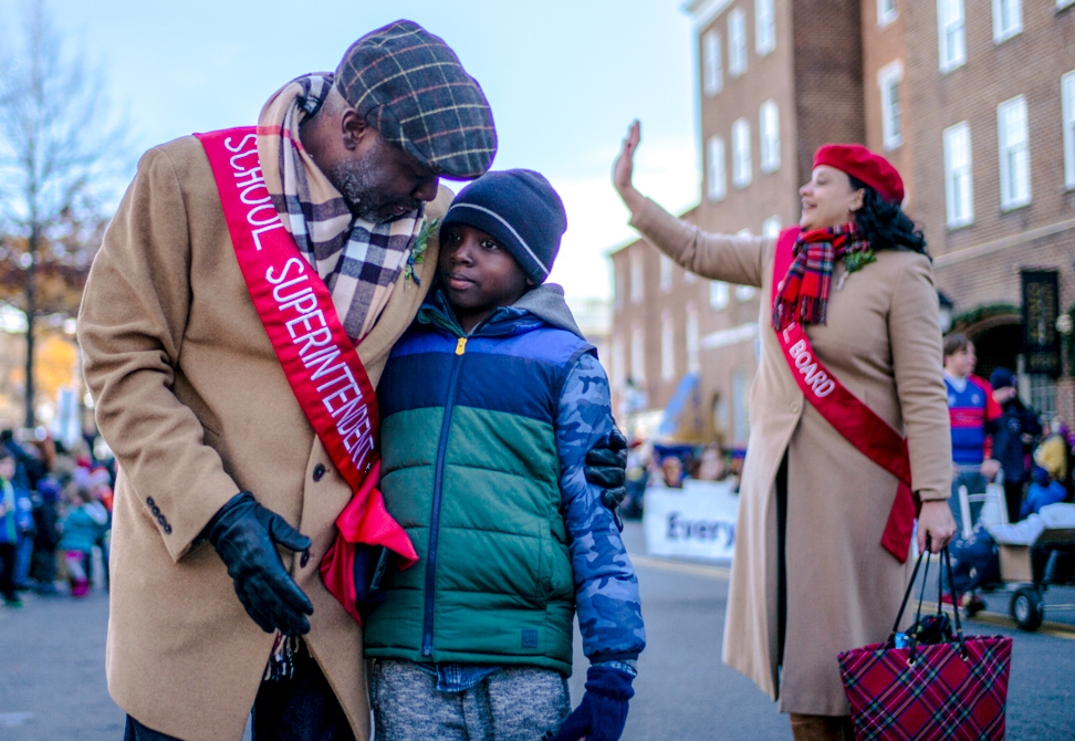 Superintendent and his son at the parade
