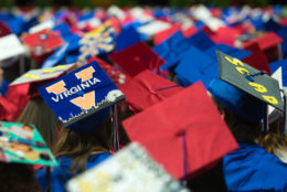 Graduation cap with UVA painted on top