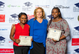 Cindy Anderson, Alexandria School Board Chair presents scholarships to Hannah Woube (L),recipient of the Jack Esformes Scholarship and student keynote speaker Divine Tsasa Nzita (R), recipient of the Class of 1989 Scholarship. Tsasa Nzita will attend Northern Virginia Community College and Woube will attend Virginia Tech.