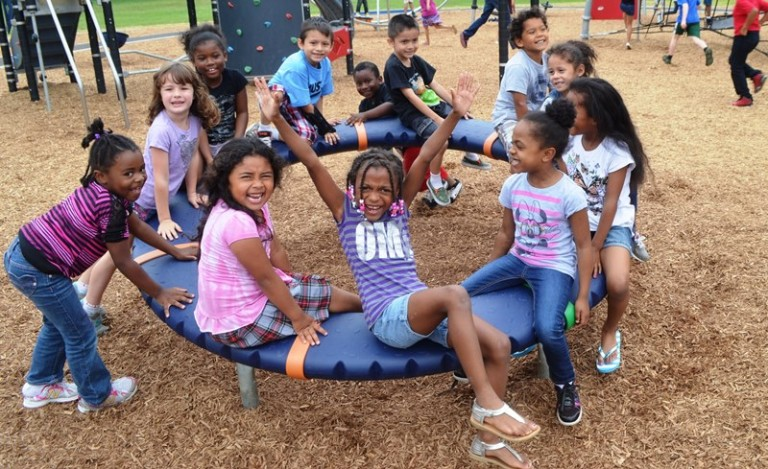Elementary students on playground