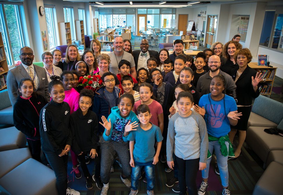 Ferdinand T Day Staff and Students gathered for Teacher of the Year announcement