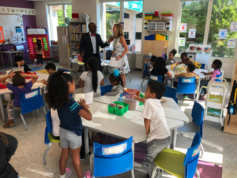 Dr. Hutchings visits a classroom