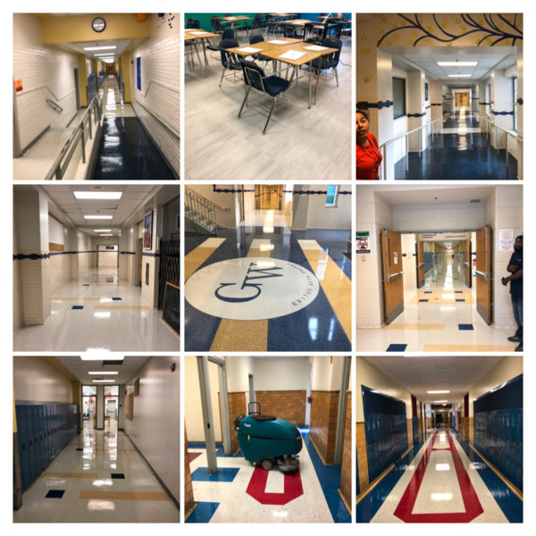 Collage of polished floors and clean schools
