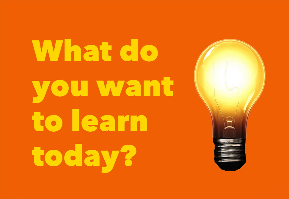 "A light bulb with text ""What do you want to learn today?"""