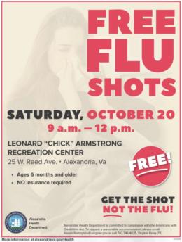 "City of Alexandria Flu Shot Clinic October 20 9 am - nooon at Leonard ""Chick"" Armstrong Recreation Center"