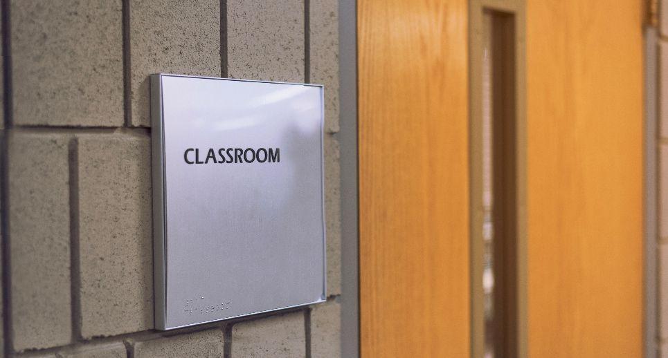 closed classroom door