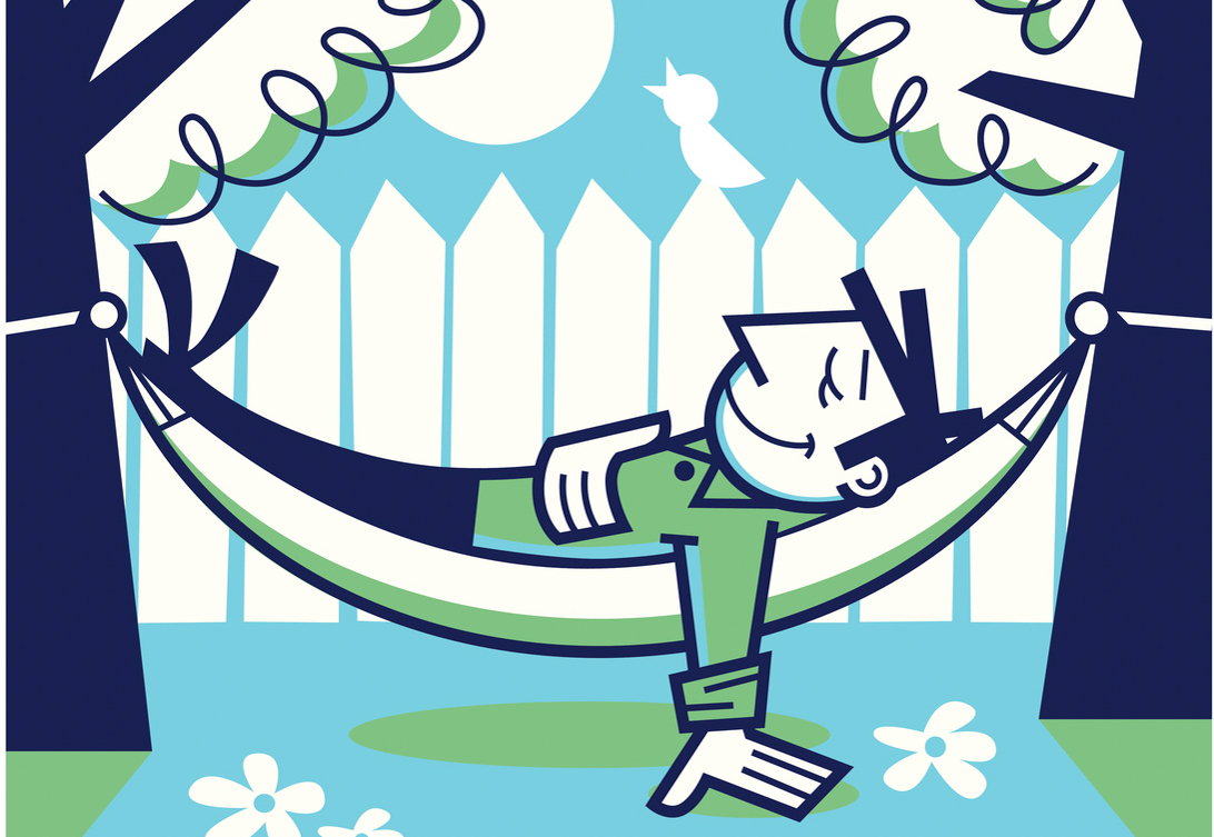 Illustration of a many relaxing on a hammock