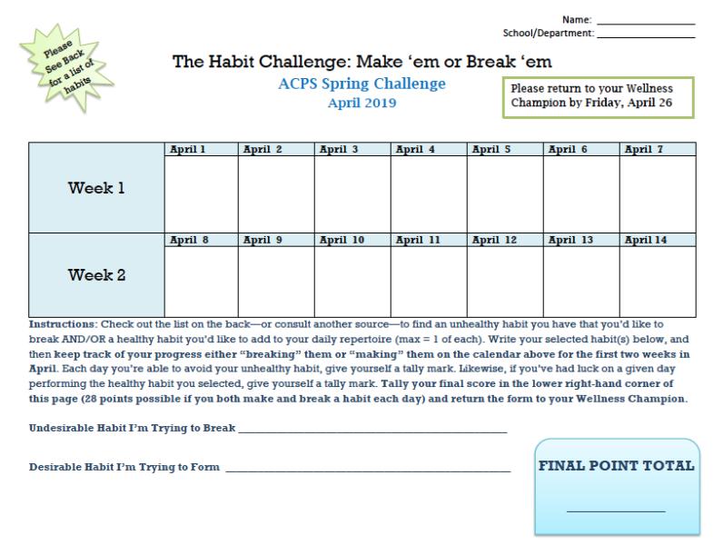 fitness challenge calendar