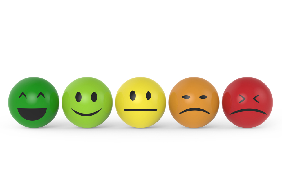 balls with faces on them ranging from happy to very dissatisfied