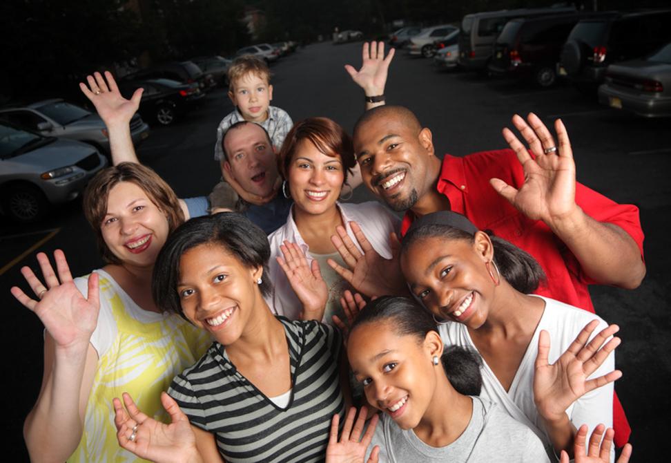healthy looking people waving
