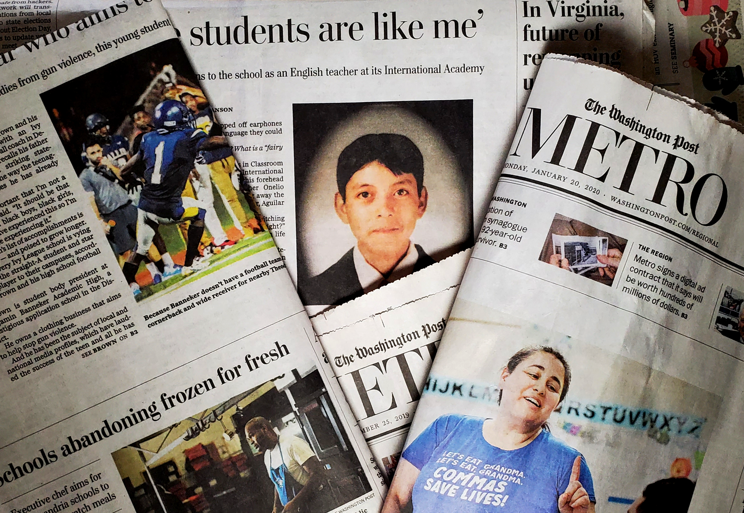 Washington Post Metro section covers with ACPS stories
