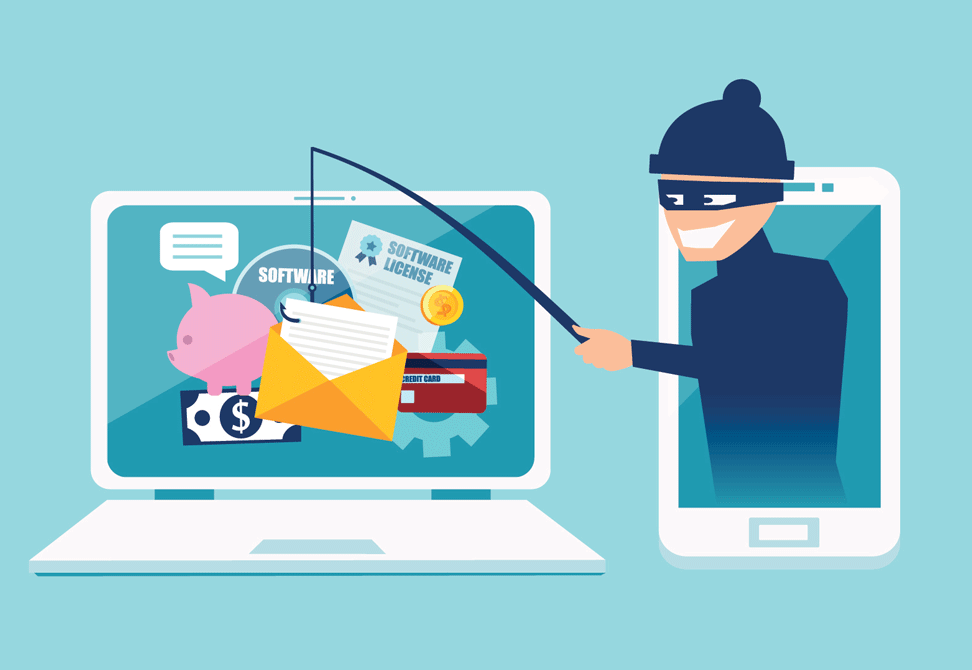 a robber phishing for information on a computer