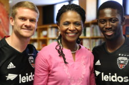 DC United team members with Veronica Jackson