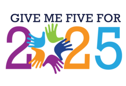 strategic plan logo -- Give Me Five for 2025 -- multicolored with five hands representing a zero
