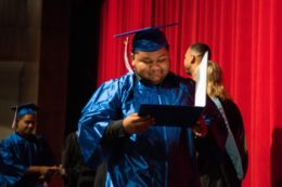 Student receiving diploma