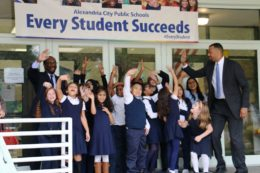 Students outside Patrick Henry Elementary School