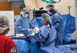 Surgical Tech II students in lab skills class