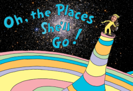 Ana Humphrey pasted into a space version of Dr. Seuss' Oh the Places You'll Go