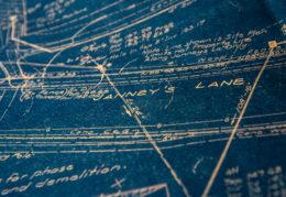 vintage blueprint of Douglas MacArthur Elementary School
