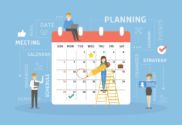 illustration of people working on a giant calendar