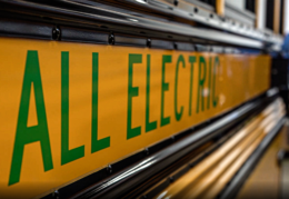 text on side of electric bus