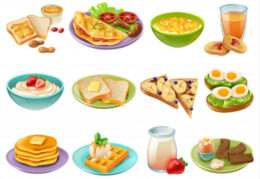 different kinds of foods illustrated