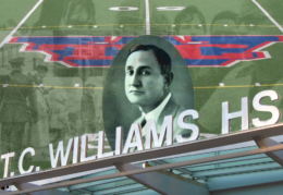 T.C. Williams portrait along with school name with football field, Coach Boone and football players and Lomax's first day of school