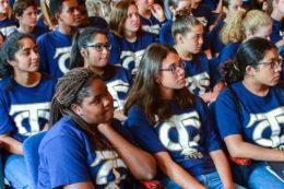 health academy students listen to a presentation