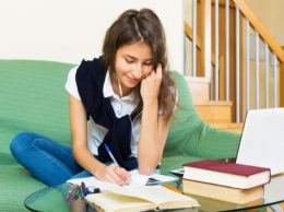 Female older student study at home
