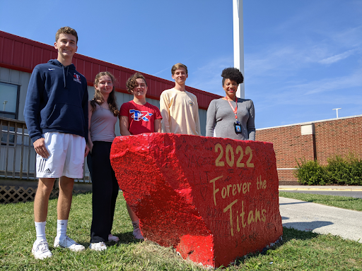National Merit Semifinalists Virginia Arnold, Zachary Bosland, Delia Hughes and Tucker Stone with ACHS College and Career Center Counselor Stacy Morris