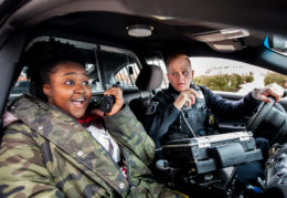 Lydia Agyare and Officer Dylan Lemley