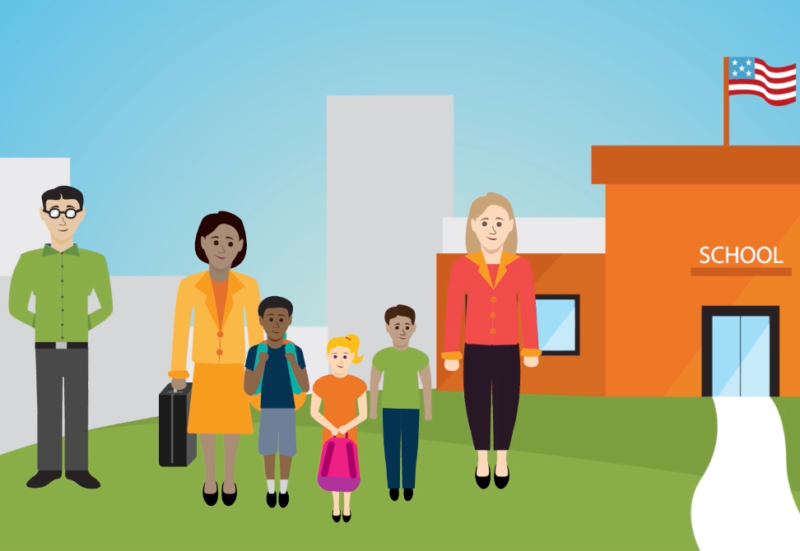 animated image of people standing in front of a school
