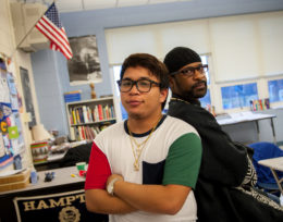 Jerome Maquiling with teacher Ra Alim Shabazz