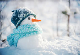 tiny snowman with scarf and hat