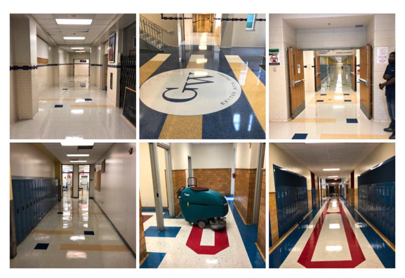 6 images of squeaky clean school floors