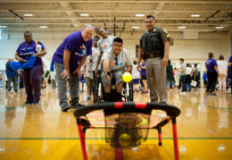 Students at Meet the Feet Special Olympics Virginia Event